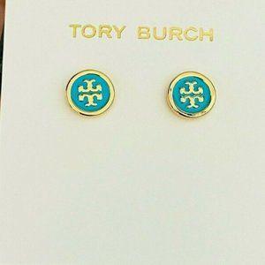 Tory Burch Earrings Gold Blue Studs New